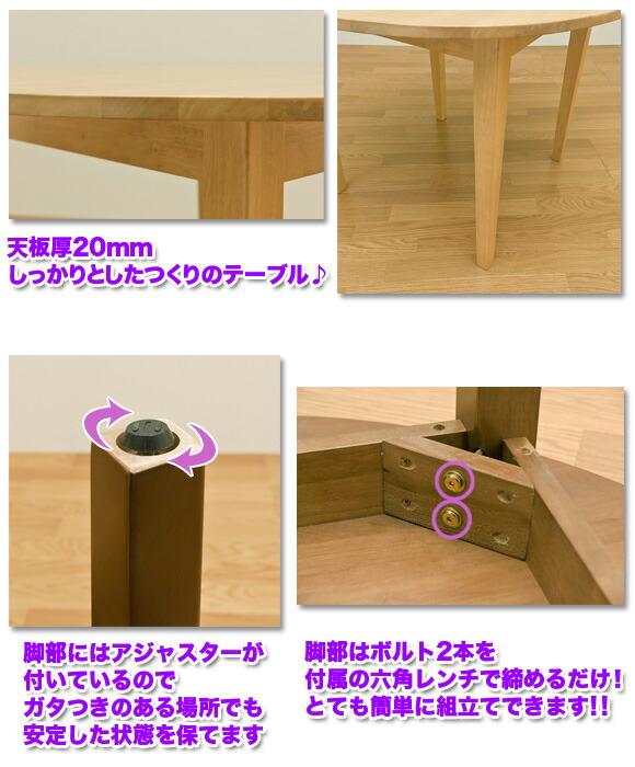 天板厚20mmのテーブル 脚部のアジャスター 組立て簡単なテーブル イメージ写真