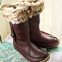 Real leather fur boots are nice! 2way design to be able to turn down! 1274 ♪★ friend makers where there is the protection against the cold effect in soft and fluffy nature boas