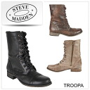 ■ review entry price ■ STEVEMADDEN Steve Madden TROOPA boots lace-up leather boots boots side zip vintage processing boots large size instruction/s