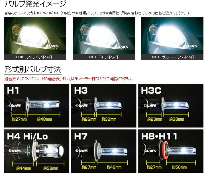 バルブ発光イメージ、形式別バルブ寸法