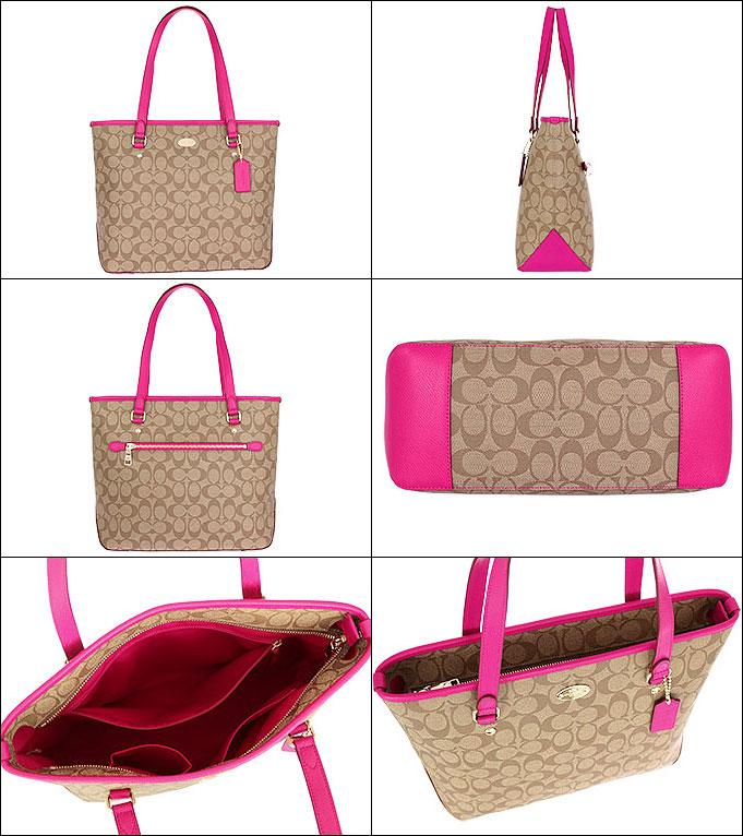 Mặt trong Túi Coach Tote Bag (Khaki/Pink) F34603 IMCMY