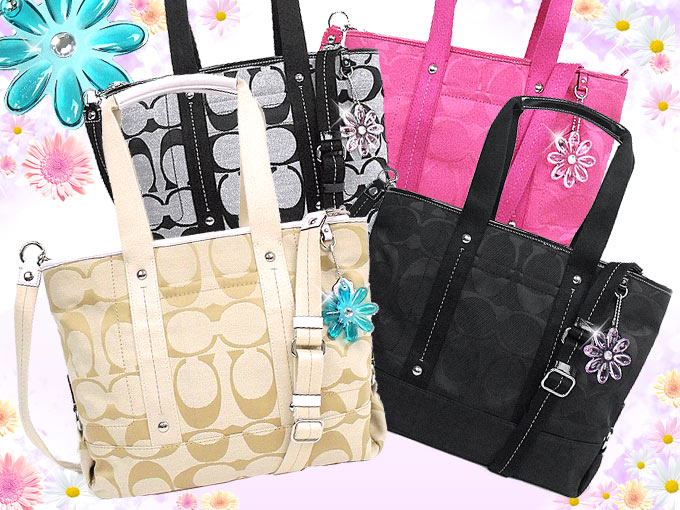 coach diaper bag outlet store ucc4  Coach [COACH] bags tote bag F18844 18844 black Daisy nylon signature Tote  outlet products
