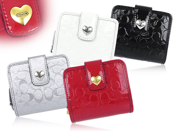 coach bags online outlet pz65  Coach COACH  wallet 2 fold wallet F49510 49510 red embossed signature  liquid gloss heart slim medium wallet outlet products