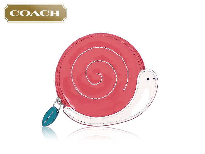 coach coin purse outlet 6o5o  COACH purse coach  coin F65636 65636 coral multi snail motif patent  leather coin Perth outlet products