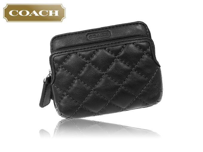 coach coin purse outlet 6o5o  COACH purse coach  coin F66559 66559 black Hoodie quilted leather double  coin wallet outlet products