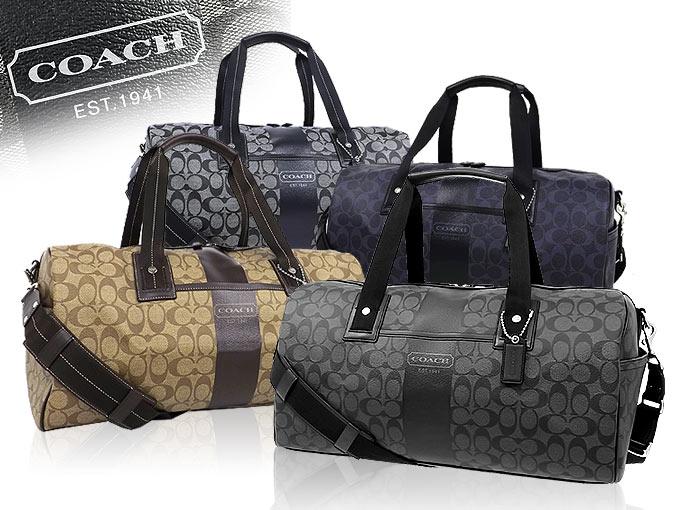 coach bag sale outlet t5nm  [COACH] coach handbags Boston F77278 77278 khaki / Brown heritage stripe  signature Duffle outlet products