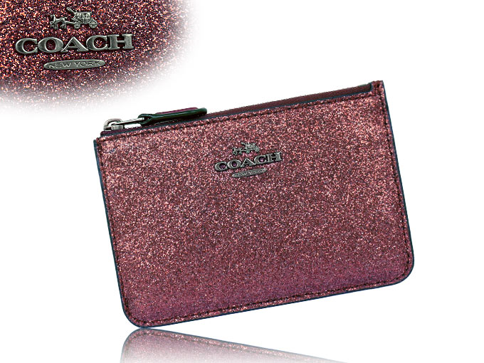coach coin purse outlet nd3c  Coach COACH  wallet purse F64588 64588 cherry metallic glitter leather  Keyring skinny outlet products
