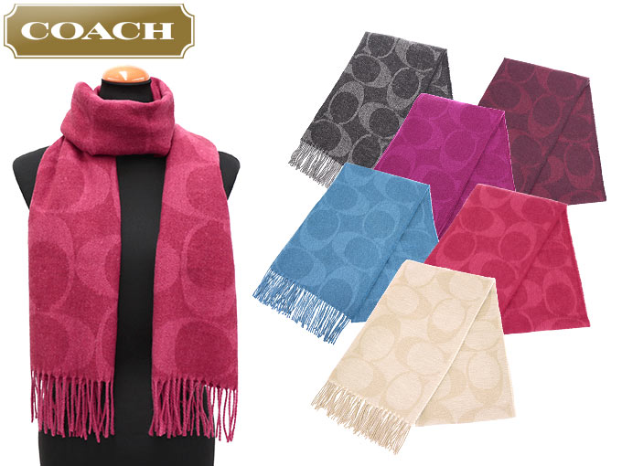 coach apparel outlet 6dk4  Coach COACH  apparel muffler F77673 77673 black x grey signature C scarf  outlet products