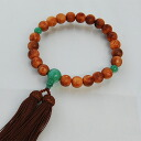 Rosary men Yaku Cedar prayer beads 3 heaven jade with Brown silk head tuft