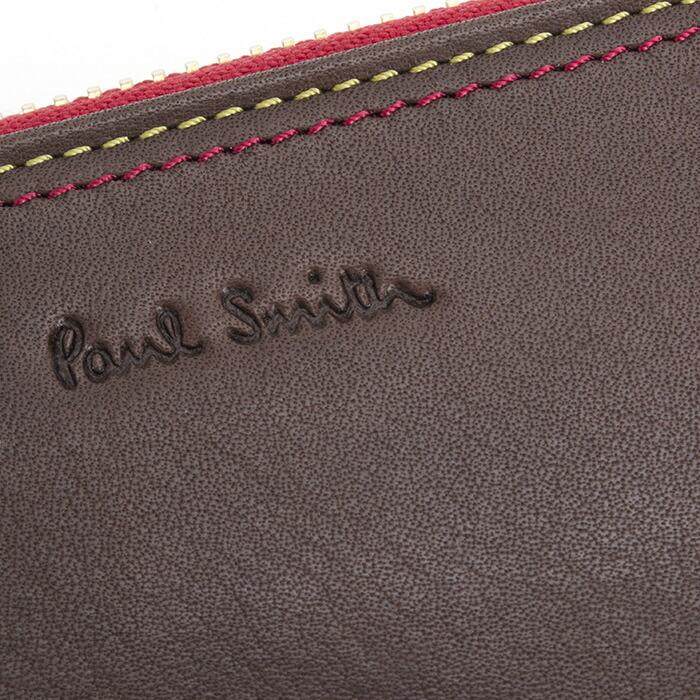 ポールスミス 財布 長財布×コントラスト 濃茶 Paul Smith