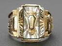 JOSTENS (manufactured by Jostens) 1992, real vintage College ring 10 K (K10 gold) white spinner