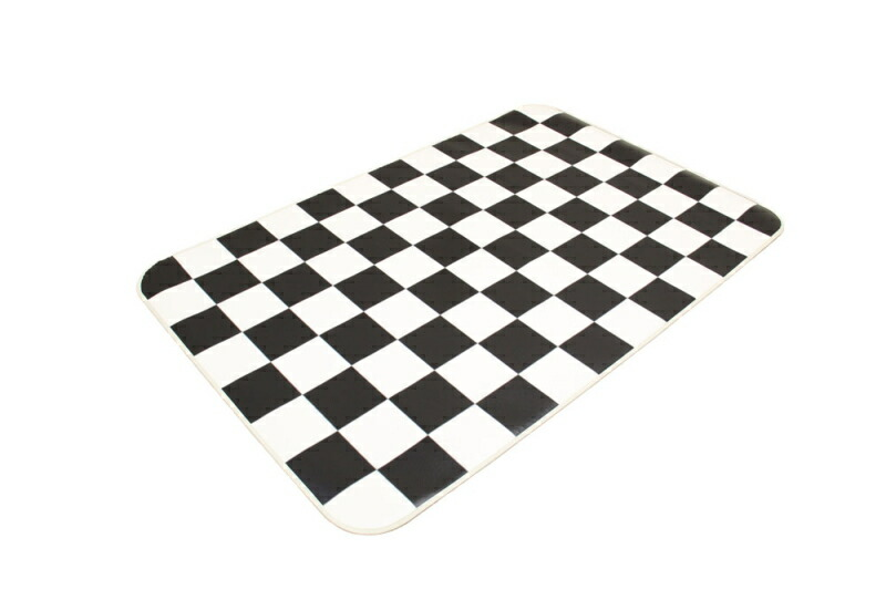 Black and white checkered kitchen rug