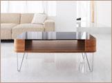 ブラックガラステーブル 曲木リビングテーブル