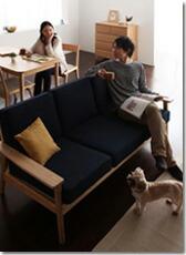 北欧スタイル木製シンプルソファ