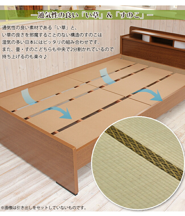 通気性の良いい草 すのこベッド