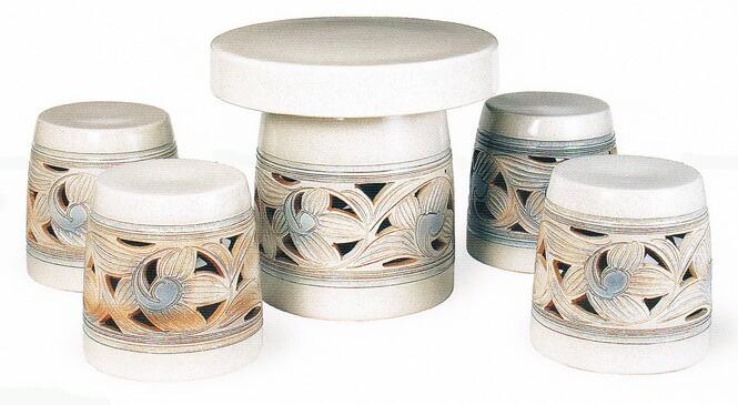信乐烧陶器表集 kasumi 阿拉伯式花纹表集 5 点 20 的花园表设置室外