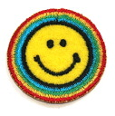 Ironing adhesive type ☆ ☆! Embroidered emblem smile ♪ ラウンドレインボー (small)