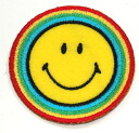 Ironing adhesive type ☆ ☆! Embroidered emblem smile ♪ ラウンドレインボー (large)