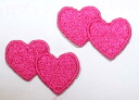 Easy ironing adhesive type ☆! Embroidered patch mini pink heart ♪ 2 pieces