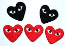 Easy ironing adhesive ☆! Embroidered emblem red black hearts ♪ ☆ 5 pieces