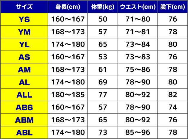 タキシードのサイズ表