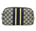 Gucci by GUCCI pouch 256637 FW9NG4060 GG canvas + leather (Beige/Navy) popular brand new SALE