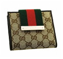 Gucci by GUCCI two bi-fold wallet 181669 FWCZG 9791 GG canvas x leather (Beige x Brown) cheap popular brand new SALE