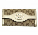Gucci by GUCCI two bi-fold wallet 282426 FAFXG 8612 GG canvas x leather (Beige x champagne gold) popular brand new SALE 02P13Dec14