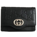 282435 1000 gucci GUCCI card case card case AA61G GG type push calf (black)