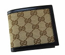 Gucci by GUCCI two fold wallet 237359 F 4C7R9643 GG canvas x leather (Beige x Brown) cheap popular brand new SALE