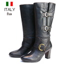 Cowhide engineer long boots leather boots (black) with the fxa import side belt made in Italy