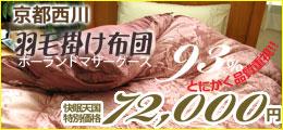 【高品質でお値段以上!】【シルキーな肌ざわりと光沢♪高級エジプト綿カバーをプレゼント!!】【京都西川】【ローズ】【二層キルト】【ポーランド産ホワイトマザーグース93%】【ダウンパワー430以上】とにかく品質重視!ローズ 羽毛布団