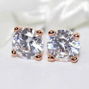 CZ x pink gold finish. 6 mm single stud earring ( チタンポスト )