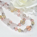 Rose Quartz in a cute breast ♪ long necklace