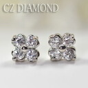 Brightness ☆ clover pierced earrings (the titanium post) of the CZ diamond