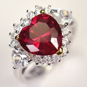 925* silver ruby CZ ♪ go Japanese Agricultural Standards heart ring