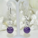 Natural stone power stone pierced earrings (amethyst)