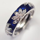 Navy blue enamel finish * high quality CZ ♪ leaf design ring