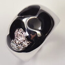 CZ use ♪ black enamel heart ring of high quality