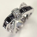 Black CZ & clear CZ cross ♪ antique bow ring