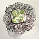 Peridot CZ X CZ ♪ antique crest ring of high quality