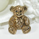 Collar and bag at one point ♪ brooch (sitting bear, gold)