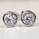 The ♪ bezel stud bolt pierced earrings which 2 carats CZ of high quality wins