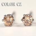 A deep-discount sale! CZ stainless steel stud bolt pierced earrings (champagne .4mm)