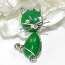 In neck and a bag one point ♪ broach (aventurine cat)