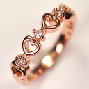 Major maker settlement of accounts disposal! CZ X pink gold ♪ Garland heart ring of high quality