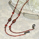 ♪ glasses necklace (dragonfly ball, almond red) stylish with convenience
