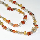 Natural stone used! 2 long Necklace (orange)