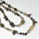 Natural stone use ♪ two long necklace (スモーキー system)
