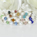 A deep-discount sale! Colorful bracelet of a fresh water pearl and crystal beads